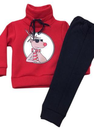 Детский новогодний костюм для мальчика (красный + черный)