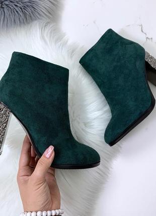 Шикарные замшевые ботильоны на каблуке, зелёные замшевые ботинки.