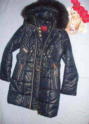 Пальто куртка пуховик детская для девочки на 10-11-12 лет темн...