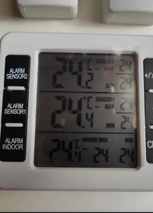 Беспроводной цифровой термометр 2-я выносными датчиками метеос...