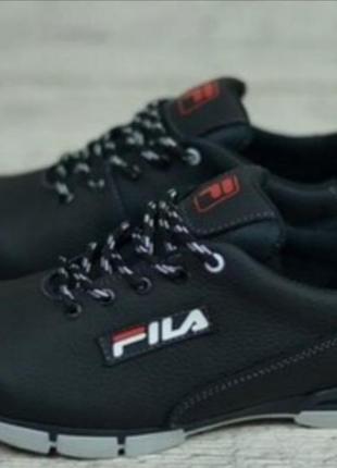 Мужские кожаные кроссовки фила черные