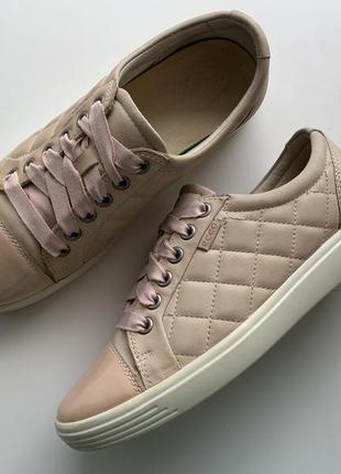 Мега комфортные пудровые кожаные кроссовки , туфли ecco 👟 🍂 ра...