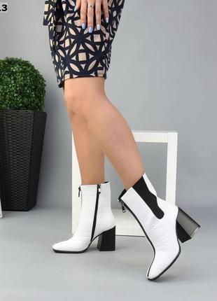 ❤ женские белые зимние кожаные ботинки ботильоны ❤