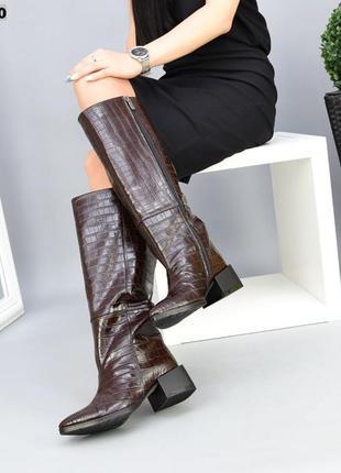 ❤ женские коричневые зимние  кожаные сапоги ботфорты  ❤
