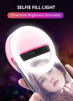 Кольцевая селфи лампа для телефона на прищепке Selfie Right Light