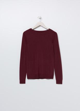 Новая однотонная бордовая кофта вишневый свитер джемпер прямой...