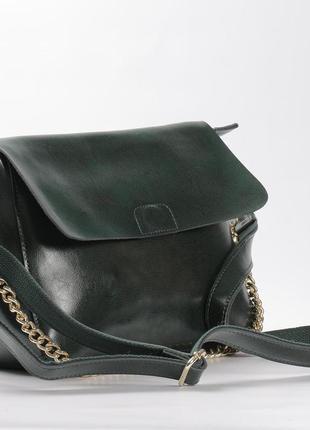 Кожаная сумка зеленая (ручка+цепочка)