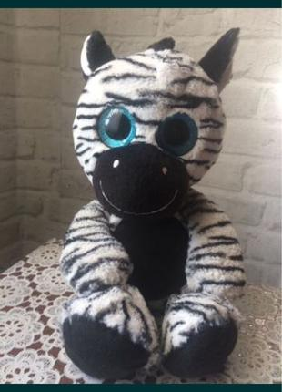 Мягкая игрушка зебра глазастик большие глазки