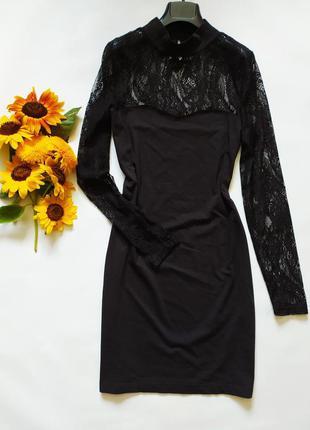 Красивое черное трикотажное платье