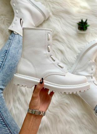Белоснежные ботинки dr. martens 1460 white lux кожаные (36-40)💜