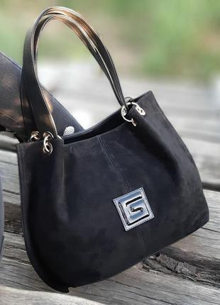 Женская сумка шоппер в натуральном замше
