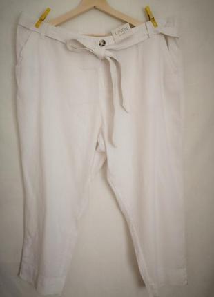 Белые льняные укороченные брюки штаны. 22 р.