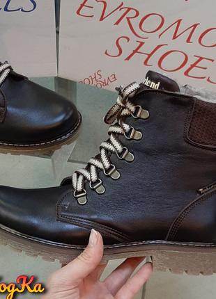 Очень тёплый зимний ботинок в коричневом цвете