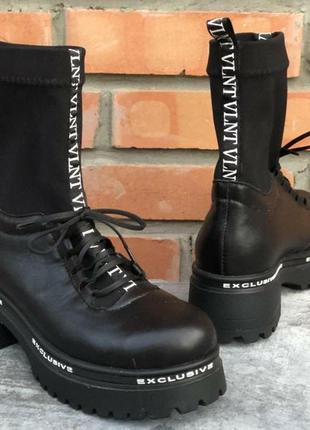 Демисезонные кожаные черные ботинки!