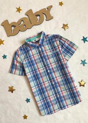 Легкая летняя рубашка в клетку h&m, 6-7 лет, 122см