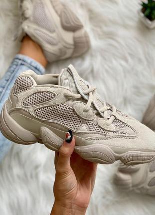 Кроссовки adidas yeezy boost 500 blush бежевый цвет замша (36-...