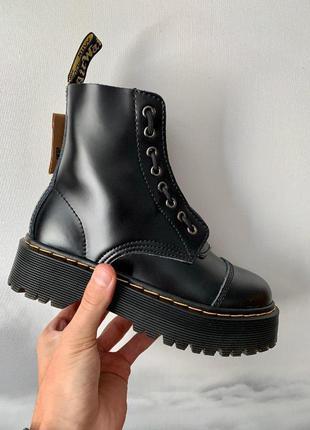 Dr. martens jadon black zip черный цвет кожаные (36-40)