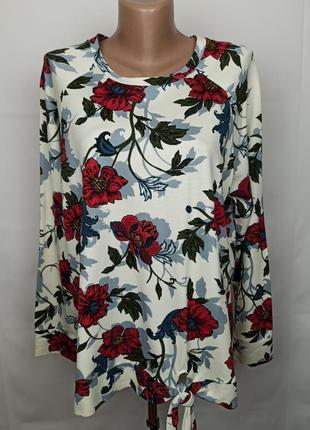 Блуза реглан красивая трикотажная в принт marks&spencer uk 16/...