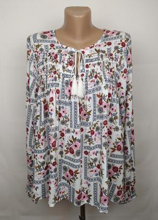 Блуза красивая натуральная в орнамент вискоза штапель marks&sp...