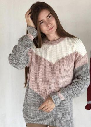 Розовый шерстяной свитер геометрия со спущенным плечевым швом