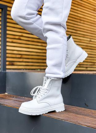 Ботинки dr. martens 1460 white fur черевики
