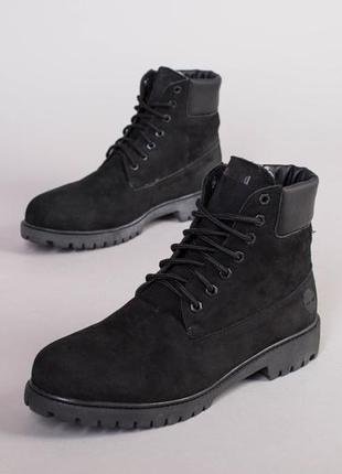 Мужские ботинки зимние черные из нубука 💥