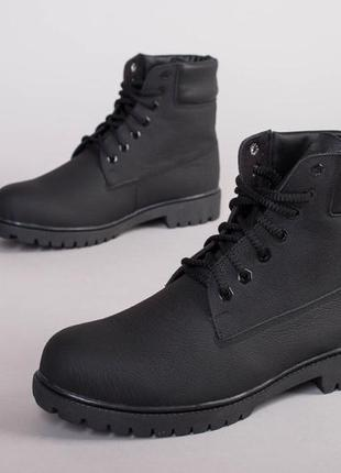 Мужские ботинки кожаные черные зима 💥
