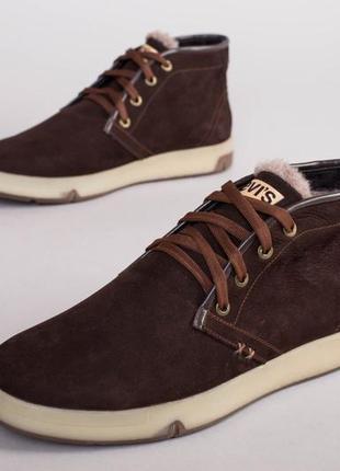 Мужские ботинки зимние коричневые из нубука 💥