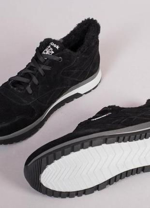 Мужские кроссовки зимние черные замшевые