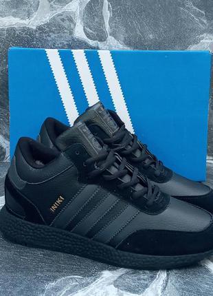 Adidas iniki winter зимние кроссовки, черные,кожаные,с мехом