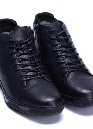 Мужские зимние кожаные ботинки KungFu Winter Black KF666-Sч