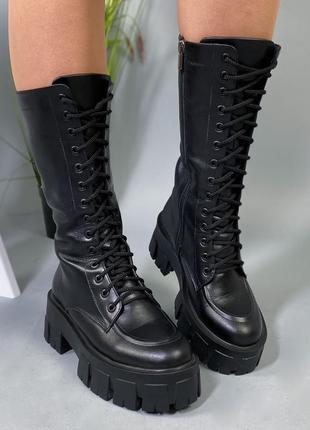 Новые женские кожаные демисезонные чёрные ботинки на массивной...
