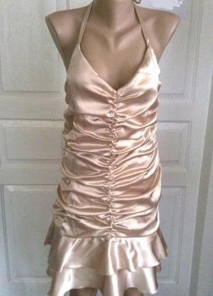 Золотистое атласное платье с открытой спиной Jessica Mc Clintock