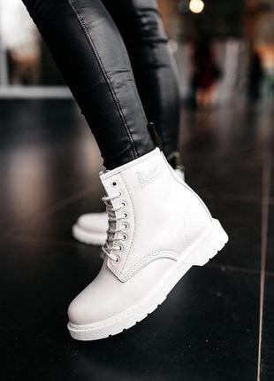 Dr.martens 1460 mono white ✰ женские кожаные зимние ботинки бе...