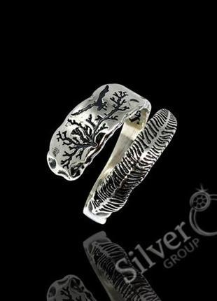Кольцо перо серебро 925