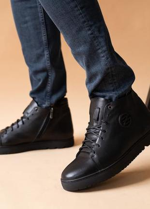 Натуральная кожа и мех! мужские ботинки зима