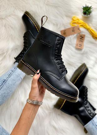 Dr. martens 1460 black (лого) ✰ женские кожаные осенние ботинк...