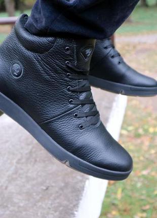 Натуральная кожа и мех! мужские кожаные ботинки зима