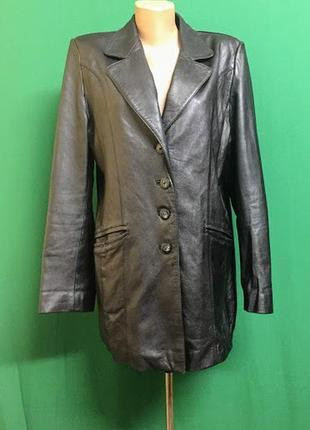 Кожаная длинная куртка glan (лайка)