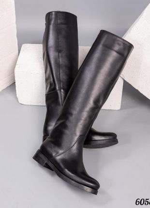 ❤ женские черные зимние кожаные сапоги трубы  ❤