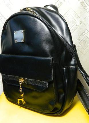 Новый женский городской рюкзак черный кожзам