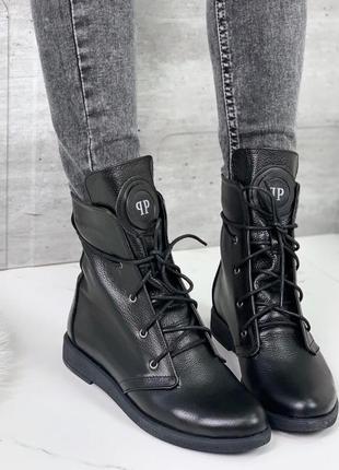 Чёрные кожаные ботинки на низком ходу,демисезонные ботинки из ...