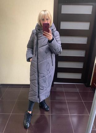 Женский пуховик батал, зимнее пальто большого размера