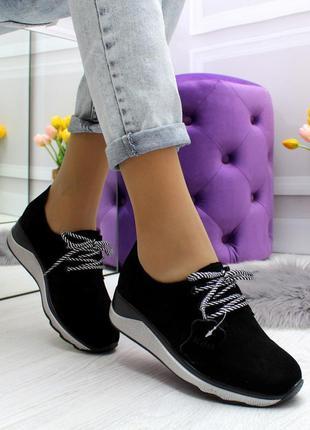 Новые женские замшевые чёрные кроссовки кросівки