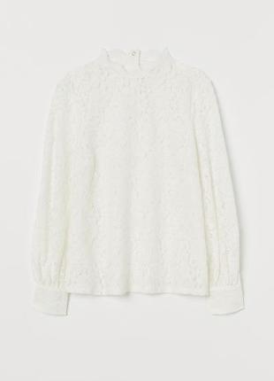 Ажурная белая блузка H&M р.32 XS