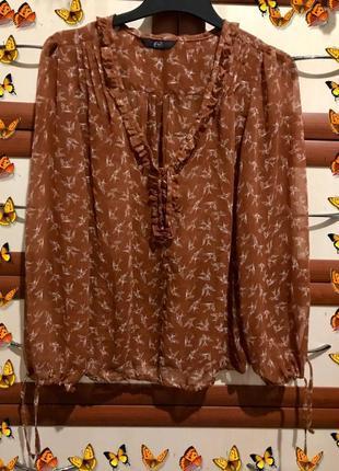 Невесомая блуза с длинным рукавом принт стрижи от бренда F&F