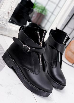 Новые женские кожаные демисезонные чёрные ботинки