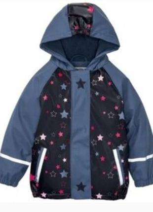 Непромокаемая куртка дождевик грязепруф на флисе lupilu 86-128
