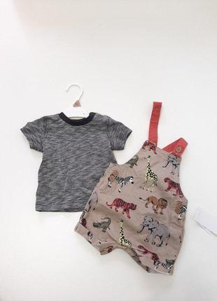 Комплект футболка и комбинезон nutmeg для мальчика р.62 на 0-3...