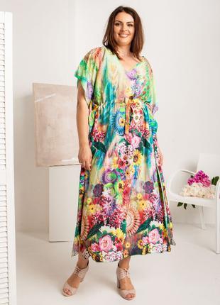 Платье-туника из штапеля. Длиное платье-парео. Яркие цвета, бо...